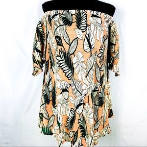 🍑 Peach & Green Off The Shoulder Leaf Top Size 8